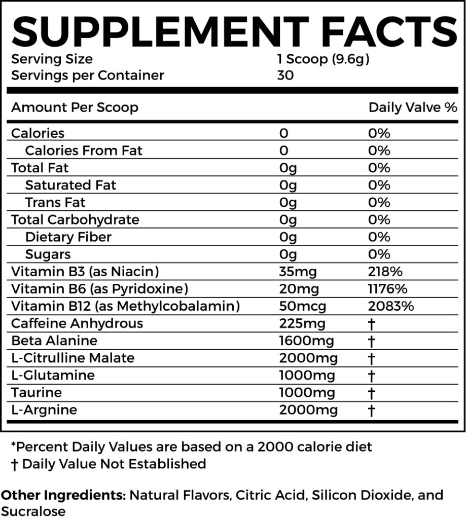 force pre workout supplement facts