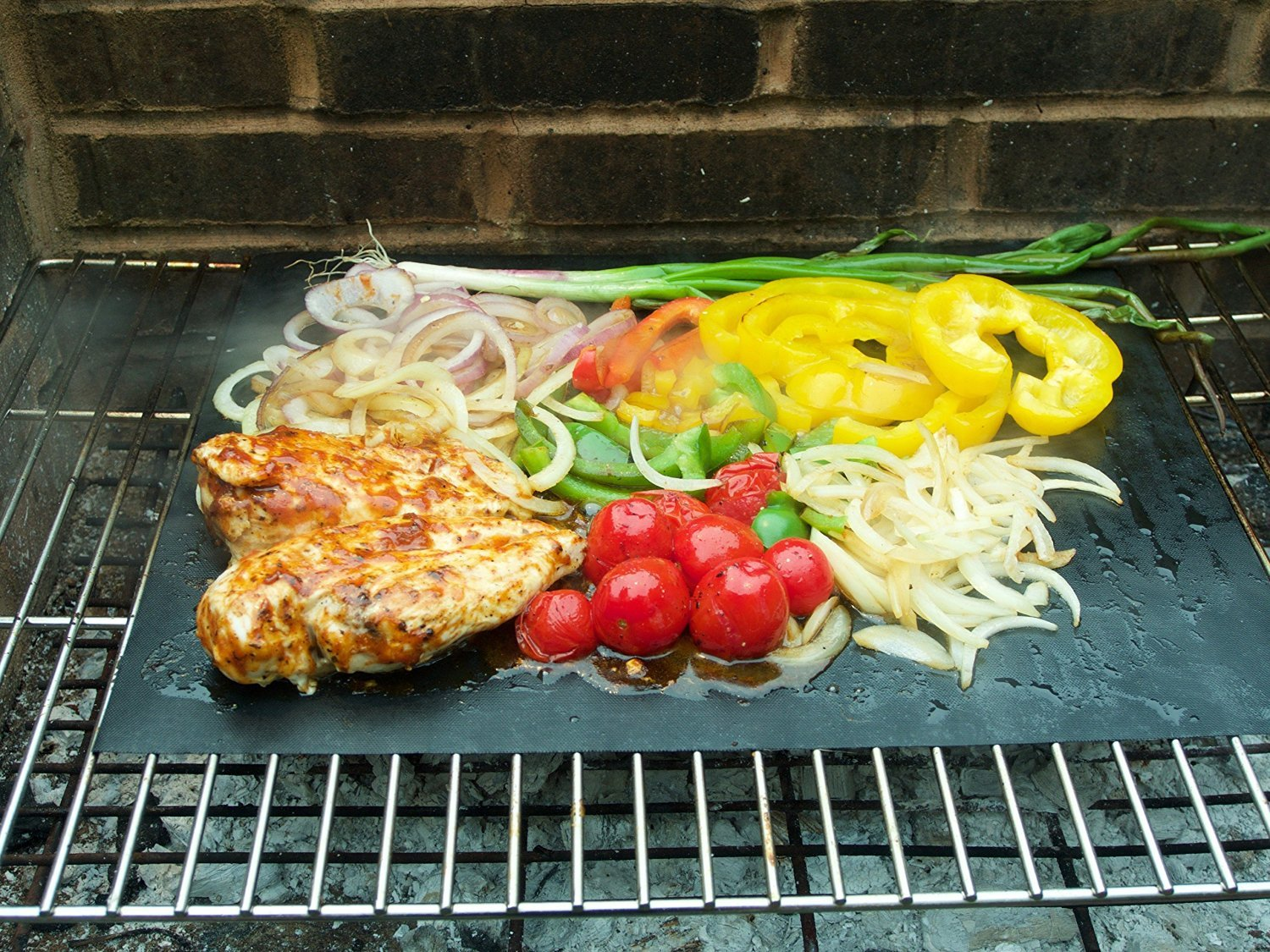 BBQ Grill Mats Non Stick with Food