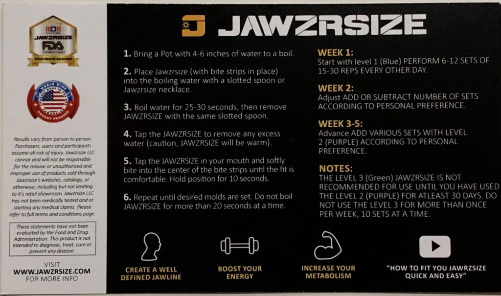how to use jawzrsize
